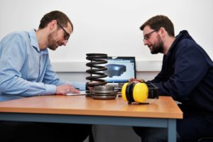 Research and Developement engineers working in Helical's new Valve Rotator Test Centre
